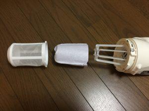 日立工機コードレス掃除機 R10DAL フィルターは2重構造